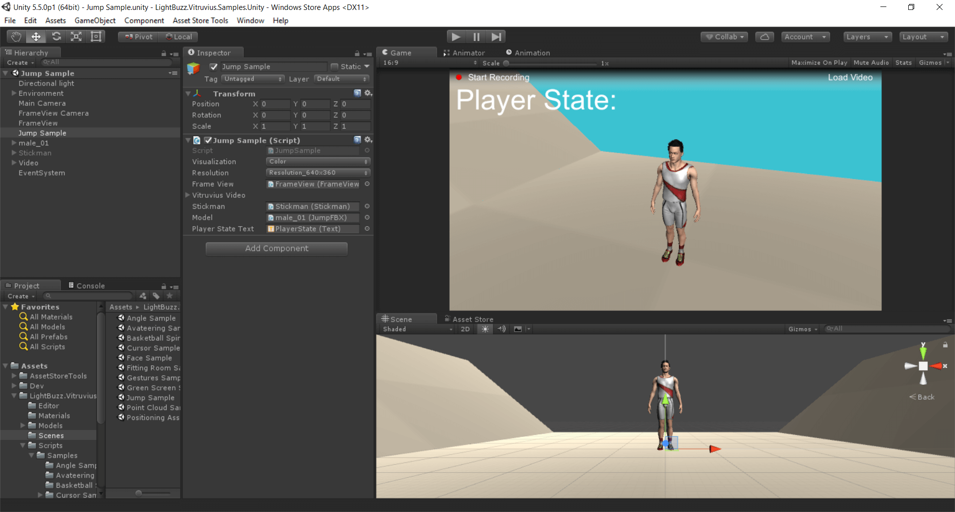 Jump detection with Kinect, Unity and Vitruvius